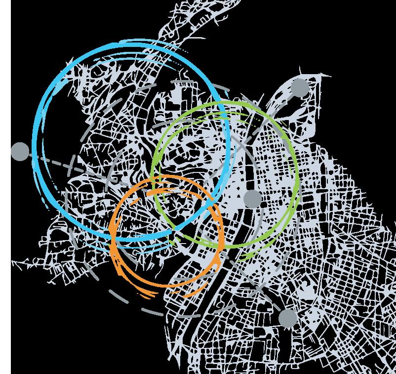 Logos de Yoobaky et e-attract superposant la cartographie de Lyon